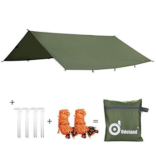 Odoland Sonnensegel 300 x 300 cm Zeltplane, Tarp für Hängematte Sonnenschutz Sonnendach Sonnenschirm für Outdoor Camping Strand Backpacking für Garten und Balkon