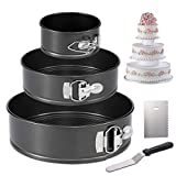 Hiware Springform Pan for Baking Set of 3 Non-stick Cheesecake Pan, Leakproof Round Cake Pan Set Includes 3 Pieces 4' 7' 9' Springform Pan, Icing Spatula and Icing Smoother