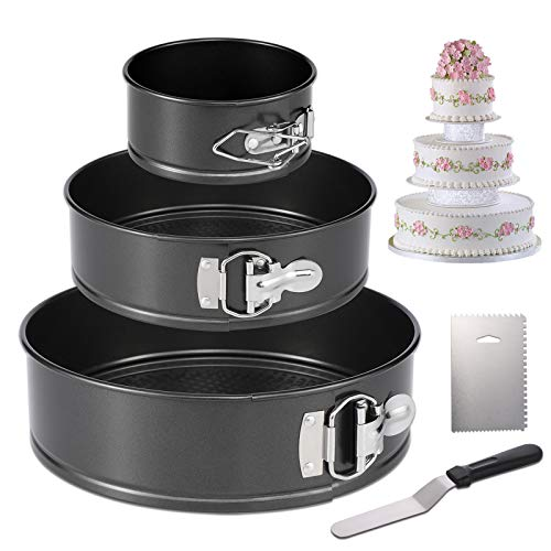 """Hiware Springform Pan for Baking Set of 3 Non-stick Cheesecake Pan, Leakproof Round Cake Pan Set Includes 3 Pieces 4"""" 7"""" 9"""" Springform Pan, Icing Spatula and Icing Smoother"""