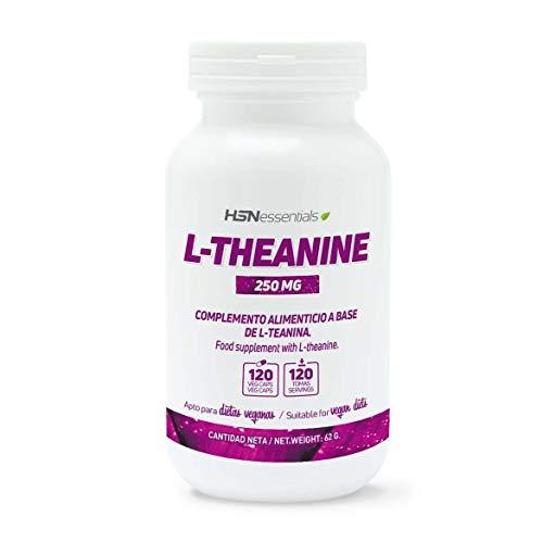 Teanina de HSN | 250 mg | A partir del Té Verde, Suplemento para la Relajación, Alivio del Estrés, Ayuda a Mejorar el Descanso Nocturno, Vegano, Sin Gluten, Sin Lactosa, 120 Cápsulas Vegetale