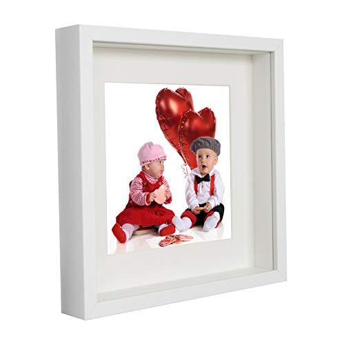 23 x 23 cm Box 3D Cornice Portafoto con Passepartout 13 x 13 cm, Bianco