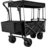 Happybuy Collapsible Wagon Cart Black, Foldable Wagon Cart Removable Canopy 600D Oxford Cloth, Collapsible Wagon Oversized Wheels, Portable Folding Wagon Adjustable Handles, for Beach, Garden, Sports