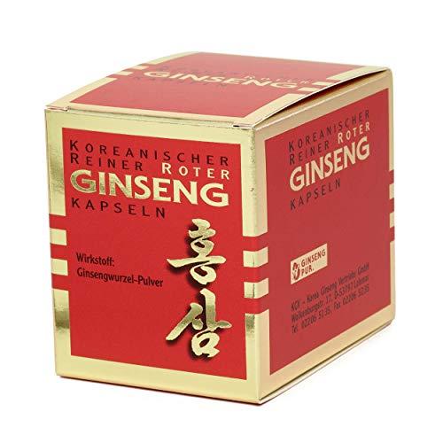 Koreanischer Reiner Roter Ginseng - 100 Wurzelpulver Kapseln (300 mg); freiverkäufliches Arzneimittel | Panax Ginseng C. A. Meyer