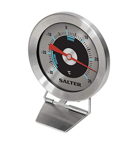 Salter Termometro Per Congelatore Frigorifero Analogico, Misura Da -30 C A +30 C, Corpo In Acciaio Inossidabile, Sensore Bimetallico Per Letture Accurate Della Temperatura, Argento