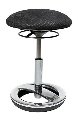 Topstar Sitness Bob, ergonomischer Sitzhocker, Arbeitshocker, Bürohocker mit Schwingeffekt, Sitzhöhenverstellung, Standfußring Alu, poliert, Stoffbezug, schwarz