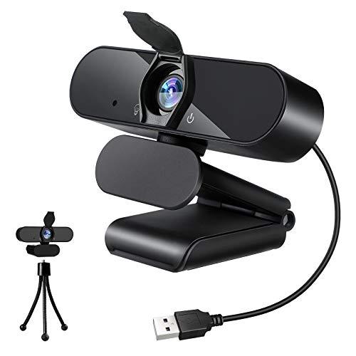 Amoner Webcam mit Mikrofon, 1080P HD Streaming USB Computer Webcam mit Datenschutzabdeckung, Plug & Play für PC-Videokonferenzen/Anrufe/Online-Unterricht, Skype/YouTube/Facetime