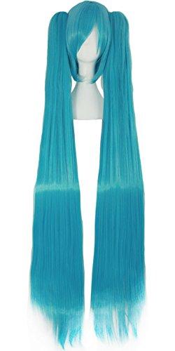 Mapofbeauty 47 Pulgadas/120cm 2 Colas de Caballo Largo Recto Peluca Cosplay Costume Party (Azul Cian)