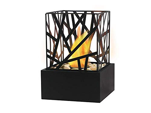 Bio Ethanol Fireplace Indoor Outdoor Camping Top Burner Fire Funky Black Tabletop (Black)