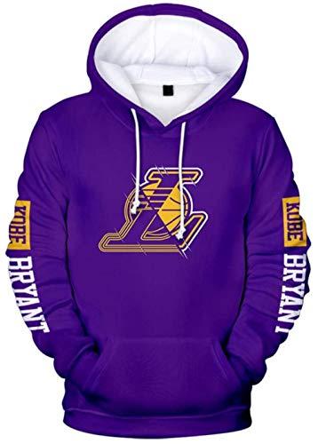B/H Men s And Women s Basketball Hoodie NBA Lakers Kobe Bryant Jersey Hooded Pullover Loose Basketball Sweatshirt T-Shirt-Purple1_XXX-Large