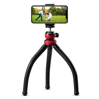 AGARO MTP 310 Flexible Gorillapod Tripod with Aluminum Ball Head, up to 2 kgs Load Capacity, Flexible Legs and Smart Phone Holder, Red,Black