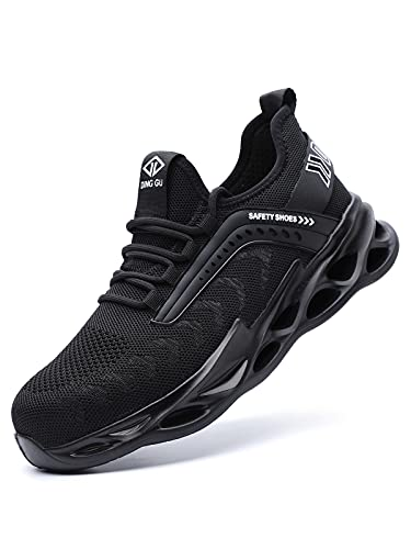 DINGGU Safety Steel Toe Shoes for Men,Lightweight Comfortable Work Sneakers, Breathable Puncture Resistant Construction Non Slip Shoes Black