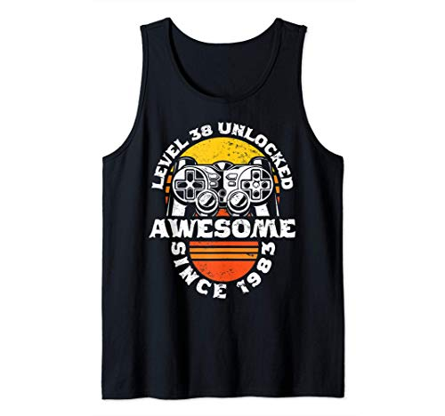 38th Birthday Gift Level 38 Unlocked Awesome Since 1983 Tank Top