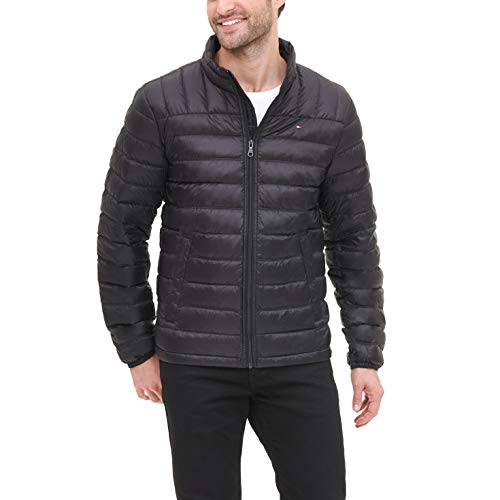 Tommy Hilfiger Men's Lightweight Water Resistant Packable Down Puffer Jacket (Regular and Big & Tall), Black, Large
