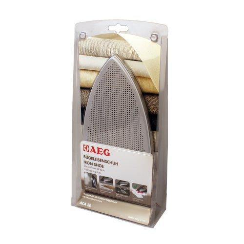 AEG ACA20 Bügeleisenschuh (kein Verbrennen oder Verkleben, keine Glanzstellen, volle Dampfleistung, universal, ideal für empfindliche Stoffe, passend für die meisten Bügeleisen, grau)