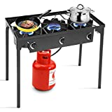 Goplus Outdoor Stove Portable Propane Gas Cooker Iron Cast Patio Burner w/Detachable Legs for Camp Cooking (3-Burner 225,000-BTU)