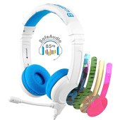 BuddyPhones School+ Safe Audio School Headphones for Kids, High-Performance BeamMic, Detachable BuddyCable, Anti-Allergic Earpad with Carry Bag, Blue