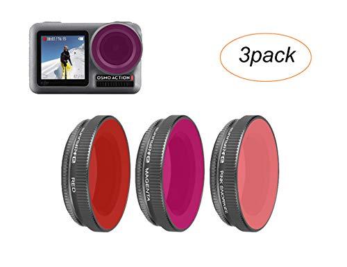 Tineer Set di filtri per obiettivi Regolabili OSMO Action - Fotocamera MCUV/CPL/ND/ND-PL/Filtri subacquei Ripresa Professionale per Fotocamera DJI OSMO Action Sport (Diving Filters-Red+Purple)