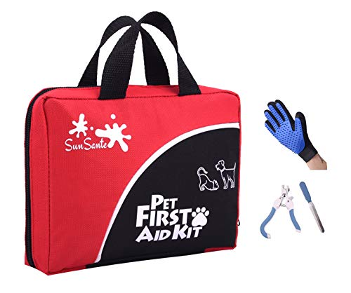 Pet First Aid Kit for Dogs & Cats + Bonus Grooming...