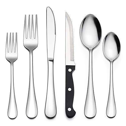 LIANYU 36-Piece Silverware Set with Steak Knives, Stainless Steel Flatware Cutlery Set for 6, Modern Eating Utensil Tableware for Kitchen Restaurant Hotel, Dishwasher Safe