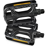 MARQUE Bike Pedals – Bicycle Pedals with 9/16 Inch Boron Steel Spindle with Reflector and Flat Body - Works on E-Bike, City, Urban Commute, Road Bikes - Replacement Cycling Pedals (9/16')