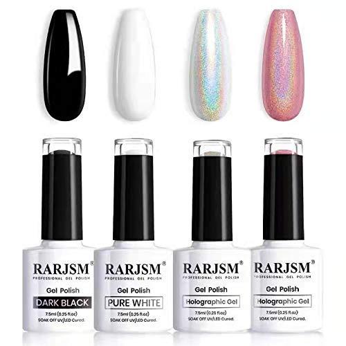 RARJSM Holographic Nail Polish Set, Black White Sliver Rose Gold Gel Nail Polish, Holo Glitter Gel Polish, 4PCS 7.5ML Gel Nail UV LED Manicure Art Varnish Gift Set