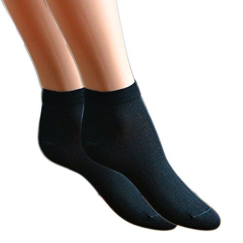 Fontana Calze, 12 paia di Mini Calza caviglia DONNA in cotone Filo di Scozia elasticizzato. NERO TG 38/40
