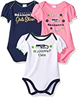 Features picot trim and Perfect to Mix and Match Machine wash / tumble dry Cotton/poly interlock Contains 3 NFL Bodysuits Great Baby Shower and Registry Gift Officially Licensed NFL Seattle Seahawks Baby Clothing
