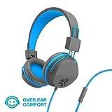 JLab Audio JBuddies Over-Ear Kids Wired Headphones   Toddler Headphones   Kid Safe   Studio Volume Safe   Volume Limiter   Folding   Adjustable   Noise Isolation   with Mic   Graphite/Blue