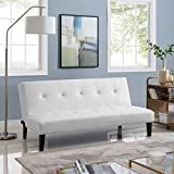 Naomi Home Button Tufted Futon Sofa Bed White