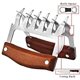 Meat Claws, Meat Shredder Claws Set of 2, Stainless Steel Meat Shredding Claws with Heat Resistant Wood Handle, BBQ Bear Claws Meat Shredder for Shredding, Pulling, Lifting, Handing, Chicken, Brisket