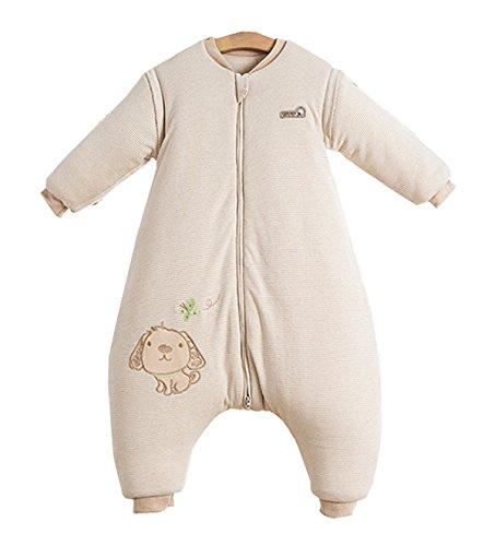 Chilsuessy Baby Winter Schlafsack Langarm 3.5 Tog Bio Baumwolle Kinder Schlafsack Schlafanzug mit abnehmbar Langarm, Beige, M/Koerpergroesse 85-100cm