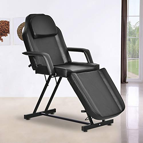 Paddie Facial Bed Chair, Massage Table Adjustable for Tattoo Lash Extensions Microblading Beauty Spa Salon Equipment, Black