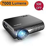 Vidéoprojecteur, WiMiUS 7000 Lumens Vidéo Projecteur Full HD 1920x1080P...