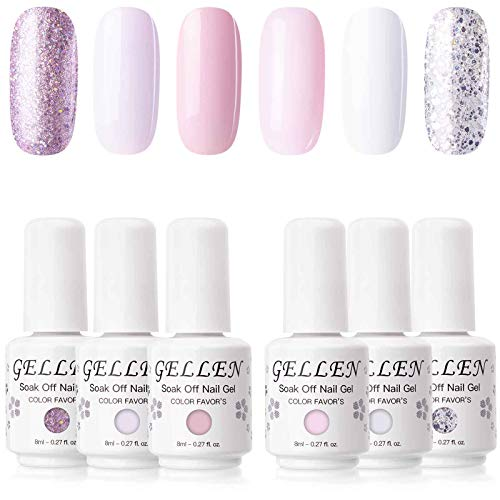 Gellen Gel Colors Nail Polish Set - 6 Colors Baby Pinks Series Pure And Glitters Nail Art Manicure Pedicure Kit