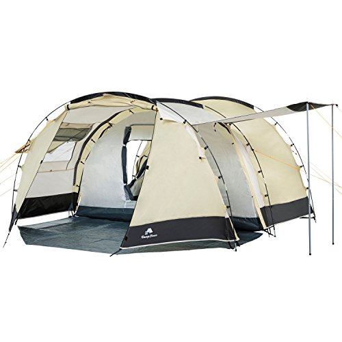 CampFeuer Tente Tunnel pour 4 Personnes Super+   Grande Tente familiale avec 2 entrées et 3.000 mm de Colonne d'eau   Tente de Groupe (Sable/Noir)