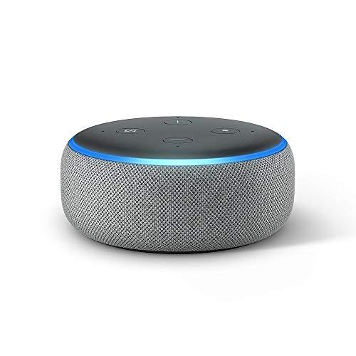 Echo Dot (3ème génération), Enceinte connectée avec Alexa, Tissu gris chiné