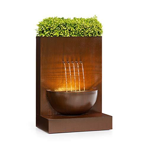 blumfeldt Windflower Gartenbrunnen, Leistung: 11 Watt, inklusive Pflanzschale, für drinnen und draußen, Durchflussmenge: 750 l/h, LED-Lichtleiste, Material: verzinktes Metall, braun