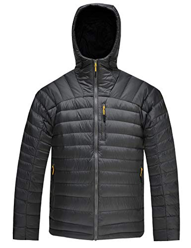 hardland Men's Packable Down Jacket Hooded Lightweight Winter Puffer Coat Outerwear Charcoal Grey Size L