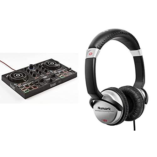 Hercules DJControl Inpulse 200 Controller per DJ con USB, ideale per i meno esperti per imparare il mix & Numark HF125 - Cuffie Portatili per DJ con Cavo da 1,80 m, Driver da 40 mm per Risposta