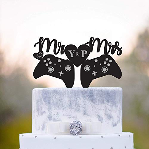Decoración para tarta de Rummy Gamer, para tarta de boda, juego de decoración de videojuegos de boda, controlador de decoración para tartas