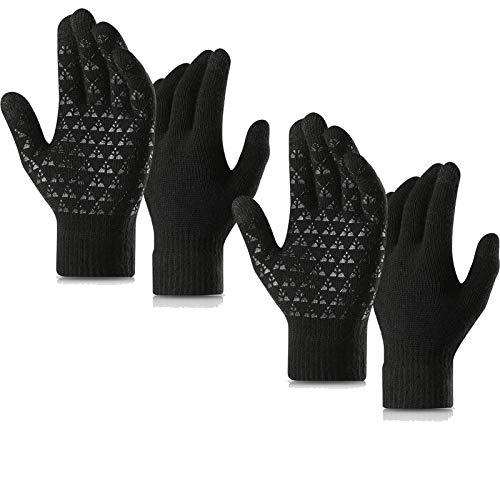 [2 Pairs] Winter Gloves Men Women TouchScreen Warm Knit Gloves Soft Lining