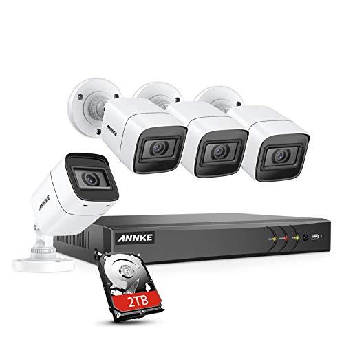 Sistema de videovigilancia ANNKE 4K DVR 8CH H.265 con 4 cámaras IP67 de 8MP, resistente a la intemperie con disco duro exterior / interior de 2TB, visión nocturna EXIR