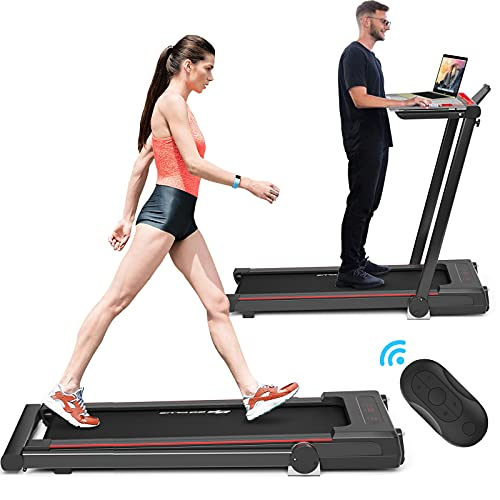 Goplus 3-in-1 Treadmill with Desk, 2.25HP Folding Electric Treadmills, Large LCD Display,Remote…