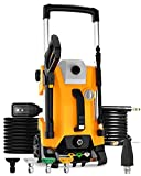 SUNPOW Electric Pressure Washer 4-Wheel Dual Form Power Washer 2300 PSI 2.0 GPM High Pressure Car Washer Machine with Telescopic Rod, Onboard Detergent Tank and 5-Nozzle, Best for Home, Patio
