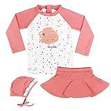 Fille Maillots de Bain, Enfant Costume de Natation 3-Pièces Anti-UV T-Shirt et Jupe-Shorts et Bonnet de Bain