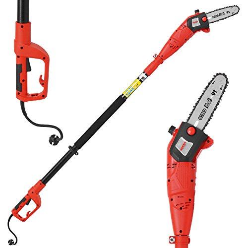 HECHT Elektro-Hochentaster 976 W Ast-Kettensäge Profi-Astsäge (750 Watt, Schwertlänge: 24 cm, Arbeitshöhe: bis ca. 4 m)