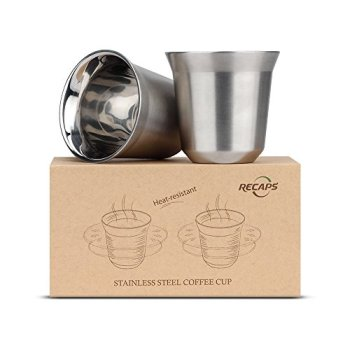 RECAPS 80ml Stainless Steel Espresso Cups Set - 2 Pack Double Wall 304 Stainless Steel Demitasse Cups 2.7oz