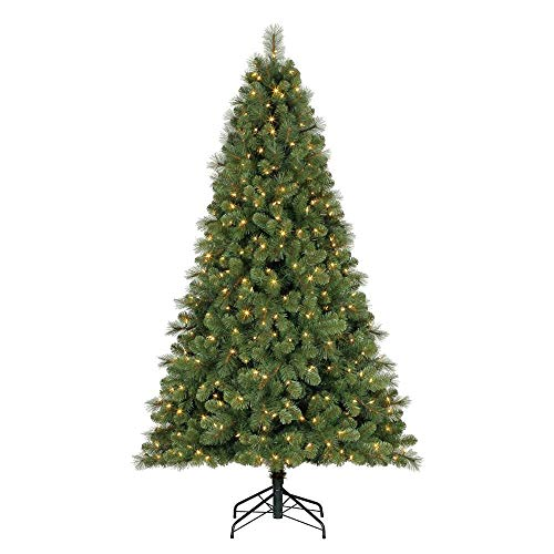 Home Heritage 9 Foot Artificial Cascade Pine Christmas Tree with Adjustable White and Colorful Changing Lights