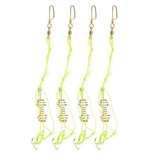 Amo da Pesca, 4 Pezzi Esche da Pesca alla Carpa Esca per Gancio Esca per Pesci Luminosa con Alimentatore a Molla Bagliore Perline Attrezzatura(7#)