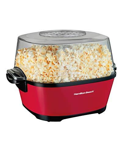 Hamilton Beach Electric Hot Oil Popcorn Popper, Healthy Snack Maker, 24 Cups, Red (73302)